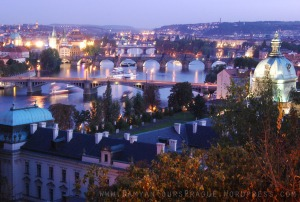 Prague at dusk, fron Vyserhrad ramparts